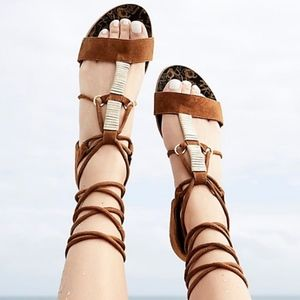 Free People Taupe Suede Wraparound Sandals, NIB